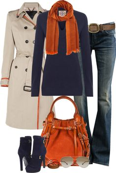 """""""Orange/Navy (I)"""" by partywithgatsby on Polyvore"""