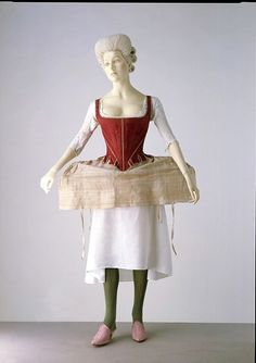 18th C. - Women's underwear served 2 purposes: to protect the clothing from the body (daily bathing was not customary) and to shape it. Over the linen shift were put linen stays, heavily reinforced with whalebone in order to mould the torso to a certain shape & provide a rigid form on which the gown could be arranged. The linen hoops, stiffened with whalebone or cane, shaped the petticoat to the appropriate silhouette, which profile varied from round, to square and flat, to fan-shaped.