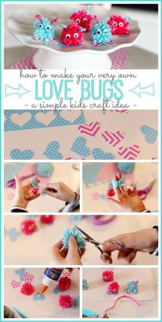 Love Bugs Kids Craft idea – fun for valentine's! – – Sugar Bee Crafts Love Bugs Kids Craft idea – fun for valentine's! Bug Crafts, Crafts For Teens To Make, Valentine's Day Crafts For Kids, Valentine Crafts For Kids, Valentines Diy, Diy Crafts To Sell, Holiday Crafts, Easy Crafts, Craft Kids