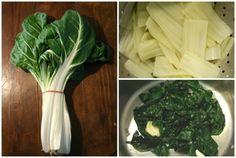 La cuisson à blanc des côtes de blette est dérivée de la cuisson à l'anglaise avec quelques variantes pour préserver au mieux la couleur des côtes. Ici je propose de sauter les verts de blettes avec un peu de beurre et une demi gousse d'ail écrasée, on... Celery, Healthy Recipes, Vegetables, Diners, Food, Images, Fruits And Veggies, Beans Recipes, Veggie Bake