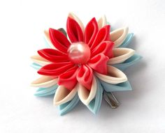 Coral and Blue Lotus Hair Clip Tsumami by ScarlettandMaria on Etsy
