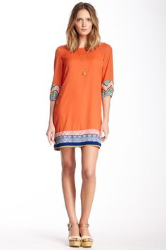 3/4 Length Sleeve Printed Trim Shift Dress on HauteLook