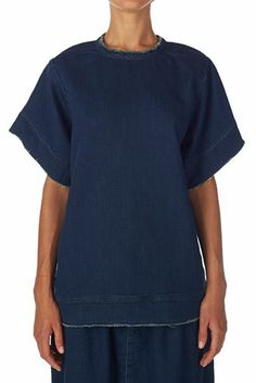raw fleece denim oversized t shirt denim blue | bassike