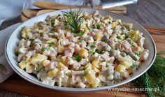 Sałatka z serem i pieczarkami marynowanymi Vegan Ramen, Ramen Noodles, Pasta Salad, Potato Salad, Macaroni And Cheese, Sushi, Snack Recipes, Appetizers, Menu