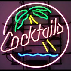 Cocktails And Palm Tree Neon Sign