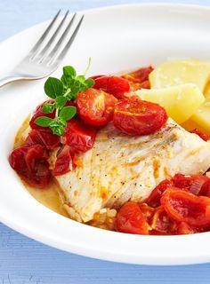 Cabillaud au four avec tomates cerises et pommes de terre