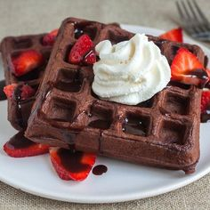 These waffles are dark and rich-tasting thanks to Dutch-process cocoa.