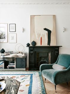 This velvet accent chair adds a pop of color to the living room design. Superking Bed, Small Hallways, Soho House, Galleries In London, Large Furniture, Wood Veneer, Large Rugs, Kitchen Living, Soft Furnishings