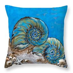 All the Blues Throw Pillow for Sale by Dawn Broom Blue Throw Pillows, Decorative Throw Pillows, Sea Pictures, Sea Crafts, Pillow Sale, Beach House Decor, Fabric Painting, Coastal Decor, Pillow Design