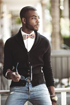 Bow tie, sweater, jeans- great casual look