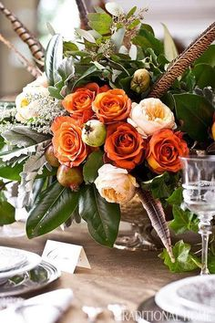 Floral Arrangement - pretty thanksgiving flowers: orange and peach roses with greenery Thanksgiving Flowers, Thanksgiving Centerpieces, Thanksgiving Wedding, Pumpkin Centerpieces, Fröhliches Halloween, Wonderful Day, Fall Arrangements, Thanksgiving Traditions, Thanksgiving Blessings