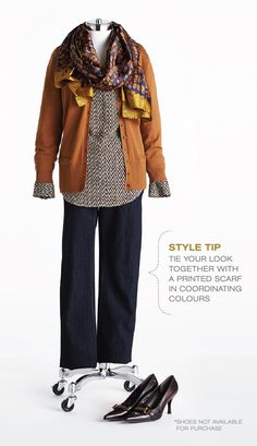 """Cleo Fall Style with Lynn Spence: Lynn's Style Tip """"Tie your look together with a printed scarf in coordinating colours"""" 50 Fashion, Plus Size Fashion, Autumn Fashion, Womens Fashion, Coordinating Colors, Plus Size Women, How To Look Better, Personal Style, Leather Jacket"""