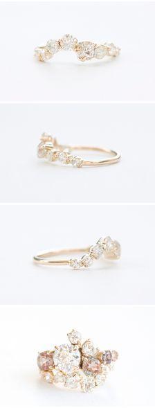Hipster Wedding : Mociun custom designed Old Miner diamond wedding band curved to fit a custom Ol