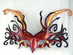 Red, Black and Gold Dragon Mask, Leather