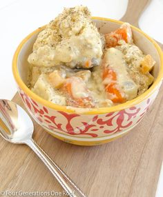 Easy chicken and dumplings crockpot {my mom} - Four Generations One Roof