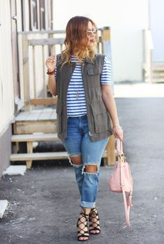 Lace up pumps and jeans with a cargo vest - http://somethingaboutthat.com
