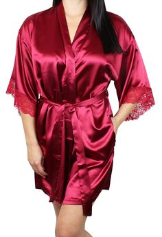 9fb38c39be Women s Satin Kimono Bridesmaid Silky Short Robe Lace Trim Sleeves and  Pockets - Red - CN12JQW7MDR