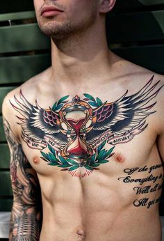 Wings chest tattoo mens color tattoo 2015 chest tattoos for guys, chest piece tattoo mens Chest Piece Tattoo Mens, Cool Chest Tattoos, Badass Tattoos, Male Chest Tattoos, Chest Tattoo Time, Chest Tattoos For Guys, Tattoos Masculinas, Trendy Tattoos, Body Art Tattoos