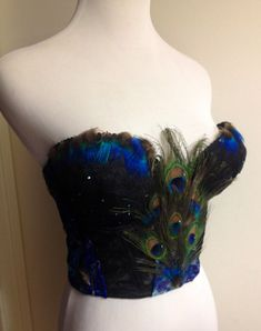 Sexy Black Vintage Style Lace Peacock Rhinestone Bustier