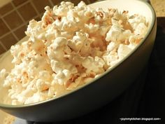 Honey Butter Popcorn: popcorn, 1/4 cup honey, 2 Tbsp butter. Drizzle popped corn with honey butter, cook at 350 for five mins, then sprinkle with sea salt.