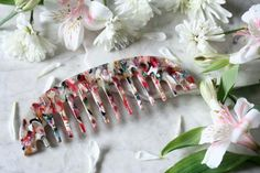 NEW Pink Abstract Vintage Inspired Round Wide Tooth Comb, Handmade