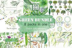 Green Bundle. Watercolor clipart. - Illustrations