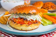 Buffalo Chicken Burgers. ---~>>All of the flavours of buffalo chicken wings in burger form with a creamy and tangy blue cheese slaw.