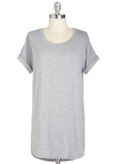 Simplicity on a Saturday Tunic in Grey   Mod Retro Vintage Short Sleeve Shirts   ModCloth.com