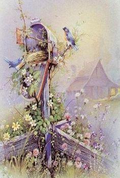 Bluebirds by Andrés Orpinas. Floral Vintage, Vintage Flowers, Vintage Art, Watercolor Cards, Watercolor Paintings, Scenery Pictures, Decoupage Vintage, Watercolor Techniques, Pictures To Paint
