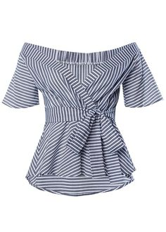 Belted Stripe Surplice Top from VENUS women's swimwear and sexy clothing. Order Belted Stripe Surplice Top for women from the online catalog or Black Ripped Jeans Outfit, Black Vans Outfit, Blue Jeans, Skinny Jeans, Crop Top Styles, African Blouses, Blue Jean Dress, Surplice Top, Elegantes Outfit