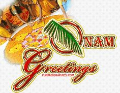 Onam Greetings Glitter