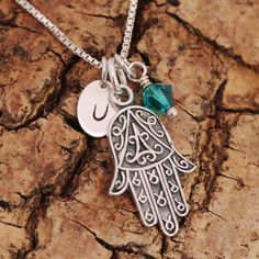 Sterling Silver Personalised Hand of Fatima Pendant Necklace +Birthstone+Initial