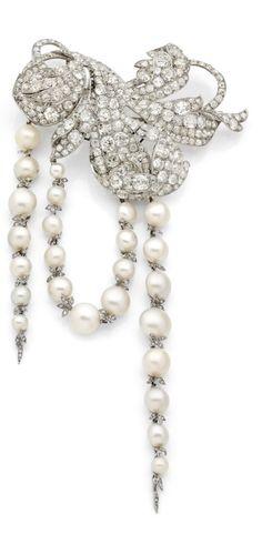 Altenloh - An antique platinum, yellow gold, diamond and pearl brooch, Belgium, late 19th century. 17cm long. #Altenloh #antique