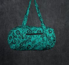 Quilted Duffle bag in Sea Green with Black floral by PaisleyMagic, $39.99