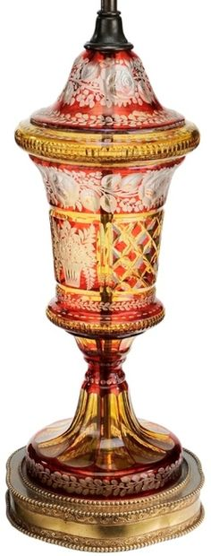 Table Lamp; Bohemian Glass?, Cranberry-Cut-to-Clear, Flowers & Vines, Intaglio, Silk Shade, 29 inch.