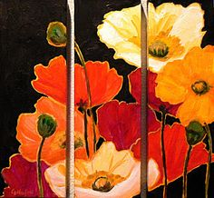 I like experimenting with multiple canvases. I've done many diptych, triptych, and even quadtych paintings. This is the same floral referenc. Flower Images, Flower Art, Triptych Art, Oil Painting Flowers, Oeuvre D'art, Rock Art, Art Blog, Painting Inspiration, Diy Art