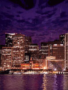 Дождь ночной город - анимация на телефон №1338812