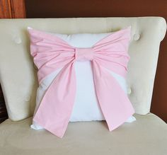 Decorative Throw Pillow - Baby Nursery Pillow- Light Pink Bow on White Pillow Pink Bow Pillow, Decorative home Decor, Nursery Pillow Tie Pillows, Grey Throw Pillows, Cushions, Best Pillows For Sleeping, Decoration, Decorative Throw Pillows, Etsy, Vintage, Girl Nursery