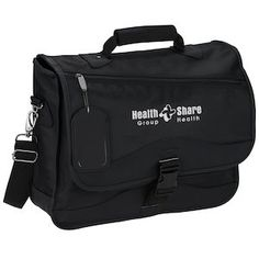 """Room enough for a 17"""" laptop and heavy-duty construction put this logo briefcase bag on top!"""