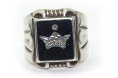 Black Signet Ring Sterling Silver Ring Black by DieVoltVintage