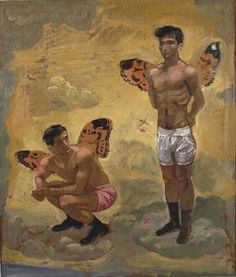 Two men with butterfly wings, black shoes, 1965 by Yannis Tsarouchis. Art Gay, Greek Paintings, A Kind Of Magic, Original Paintings For Sale, Queer Art, Art Of Man, Two Men, Portraits, Male Figure