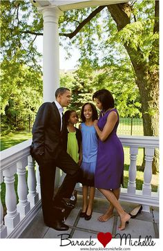President Obama and Michelle with the girls outside of the White House.