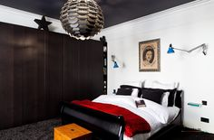 Luxury Balck And White Bedroom Interior With Wooden Bedding And Wardrobe Beautified By Stylish Hanging Lamp Neoteric Beautiful Villas, Luxury and Comfort Style for the Perfect Residential Home design http://seekayem.com