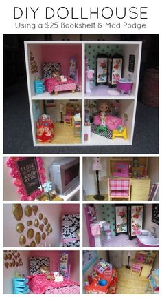 DIY Modern Dollhouse with Cathie & Steve.  Made with Mod Podge and Mod Melts! #blythe #barbie: