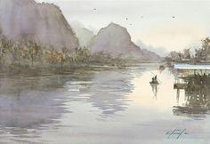 Yulong River, China I watercolor by Keiko Tanabe