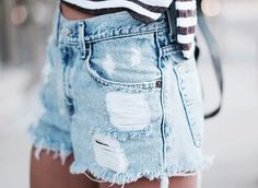 Stripes and distressed denim shorts. | via The Tides
