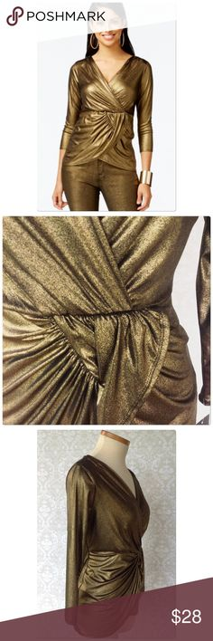 THALIA SODI GOLD TOP The tag says gold but to me it has a bronze tone to it. Polyester with 8% Spandex   Lined with soft polyester. New!! Thalia Sodi Tops