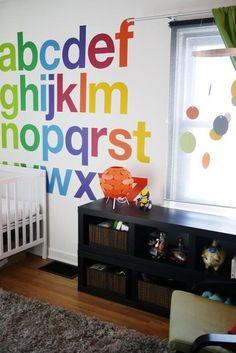 Rainbow alphabet wall