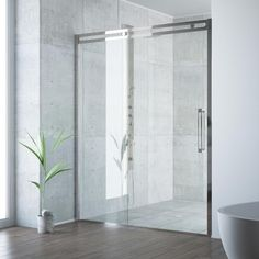 Framed in highest quality 304 series stainless steel. the VIGO Erie Framed Shower Door brings beautiful design to your modern bathroom. This sliding shower door features an integrated rolling system and unique double-sided handle for a high-functioni. Vigo Shower Doors, Frameless Sliding Shower Doors, Glass Shower Doors, Glass Door, Modern Shower, Modern Bathroom, Master Bathroom, Contemporary Shower, Small Bathrooms