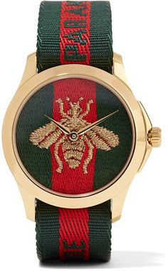Gucci Gold and Green LAveugle Par Amour Bee Watch Honey Bee Jewelry, Gucci Jewelry, Jewelry Watches, Gucci Gucci, Gucci Brand, Gucci Purses, Gucci Loafers, Gucci Outfits, Shopping